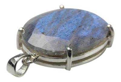 925er Silberanhänger mit hochwertigem facettiertem Labradorit – Bild 2