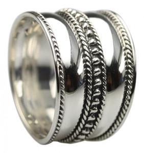 Feiner breiter 925er Silberring – Bild 2