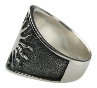 Oxidierter 925 Silberring mit polierter Sonne – Bild 3