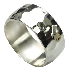 Besonderer gehämmerter 925er Silberring 10 mm breit – Bild 2