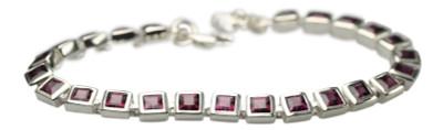 Elegantes 925er Silberarmband mit Rhodolith Granat – Bild 1