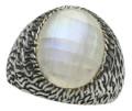Filigraner 925er Silberring mit Mondstein 001