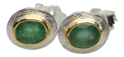 Teilvergoldete Ohrstecker mit edlem Smaragd – Bild 1
