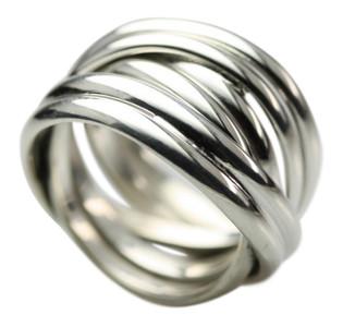 Breiter in sich verschlungener 925 Silberring – Bild 1
