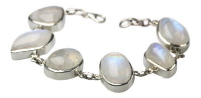 Faszinierendes 925er Silberarmband mit Mondstein – Bild 1