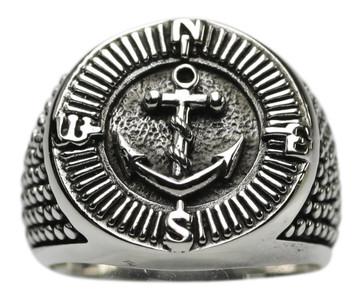 Siegelring Motiv Anker, Kompass, Silber 925 – Bild 1
