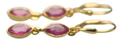 Zauberhafte vergoldete Ohrringe aus 925er Silber mit Rubin – Bild 1