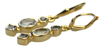 Vergoldete 925er Silberohrringe mit Aquamarin – Bild 2
