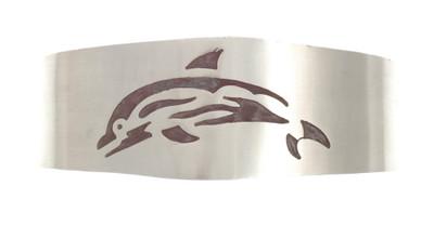 Massive 925er Silberarmspange Delfin (Hopi-Style), breit – Bild 1