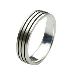 Feiner mattierter Bandring aus 925er Silber – Bild 1
