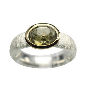 925er Silberring mit grünem Turmalin – Bild 1