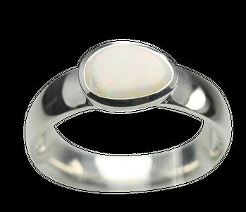 Feiner Opal Ring aus poliertem 925er Silber – Bild 1