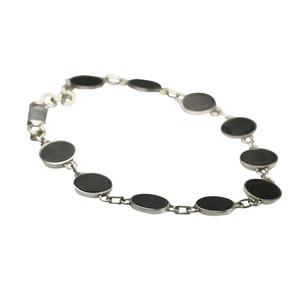 Feines 925er Silberarmband mit dunklem Holz – Bild 2