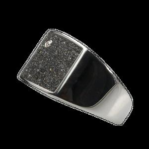 Eleganter Siegelring aus Silber mit Lava und Zirkonia – Bild 2