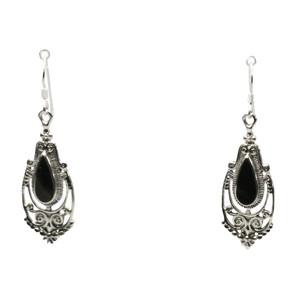 Filigrane Ohrringe aus 925er Silber mit Onyx – Bild 1