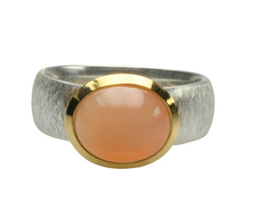 Silberring teilvergoldet mit orangefarbenen Mondstein