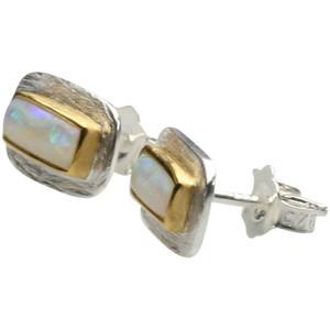 Teilvergoldete 925er Silberohrstecker mit Opal – Bild 1