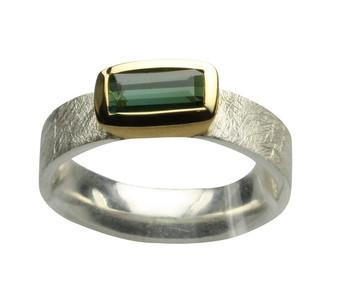 925er Silberring mit facettierten grünem Turmalin – Bild 1