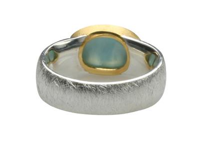 Teilvergoldeter 925er Silberring mit edlem Larimar – Bild 3