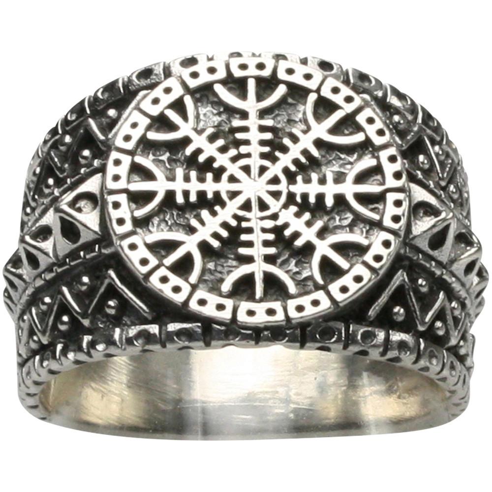 Interessanter 925er Silberring altnordisches Schutzsymbol