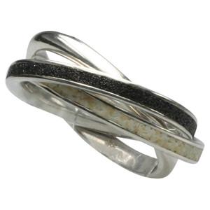 Eleganter 3er Silberring (925) mit Lavasand und Strandsand – Bild 1