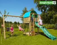 Spielturm Jungle Gym Villa Lärchenholz/Douglasienholz inkl. Anbauschaukel und 3 Meter Rutsche rot