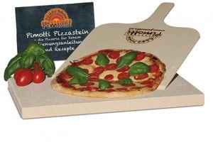 2,5cm Pimotti Pizzastein Brotbackstein im Set aus Schamott +Schaufel +Anleitung & Rezepten