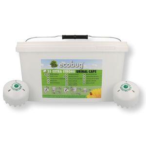 <p><strong>:: 25 Stk Ecobug extrastarke Urinalsteine in Cap Form zur Wassereinsparung sowie effektiven und ökologischen Geruchsbekämpfung auf mikrobieller Basis in wasserlosen und wassergespülten Urinalen mit angenehm sauberem Kirsch Duft </strong> </p>  <p><br />Ecobug Cap beinhaltet Mikroorganismen (=gute Bakterien, wie z. B. auch im Joghurt oder Käse vorhanden), die den Urin in seine Bestandteile aufspalten und in neutrale Moleküle umwandeln.<br />Der ecobug Cap wird einfach in das Urinal gelegt und der Wasserzufluss gestoppt. Bereits die geringe Menge von 2-3 Liter Wasser zur täglichen Reinigung genügt, um die Bakterien zu aktivieren und so das Urinal sauber zu halten.<br />Die Microorganismen werden freigesetzt indem sich der Block ganz langsam zersetzt und auf diesem Weg werden die Bestandteile, die für das Bilden von Harnstein verantwortlich sind, von den Bakterien zersezt. Gleichzeit werden die schädlichen Bakterien, die den üblen Geruch verursachen, vernichtet.<br />Der Ecobug Cap vermindert den Wasserverbrauch der Urinals um bis zu 98%, die Wartungskosten für das Urinal selbst, den Spülmechanismus und den Abfluss. Zusätzlich entfallen die Kosten für Reinigungschemie und Strom.<br /><br />Ecobug High Performance Washroom Cleaner ist die perekte Ergänzung zumEcobug Extra Strong urinal Cap. Ein wirksamer, umweltfreundlicher Reiniger für den gesamten Toilettenbereich, wie Waschbecken, Urinale, Wände, Boden, usw.<br />Es dürfen im Urinal keine chemischen Reinigungsmittel verwendet werden, da diese die Bakterien zerstören und dadurch die Wirkung desEcobug Caps!<br /><br />Technische Daten:</p> <p>100 % löslich und biologischabbaubar<br />sowohl bei wasserlosen und wassergespülten Urinalen anwendbar<br />keine Umbaukosten, reduziert Wasserverbrauch um bis zu 98%<br />verhindert Verstopfungen und reduziert die Reinigungszeit<br />frischer, angenehmer sauberer Duft (Amaretto-Kirsch)<br />keine zusätzlichen Duftsteine und Duftspender mehr notwendig<br />Farbe: grün 