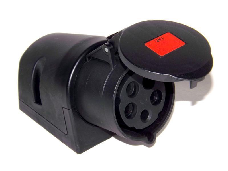32A CEE Wandsteckdose IP44 5-polig schwarz 32 A Steckdose 5p 6h PCE 125-6x