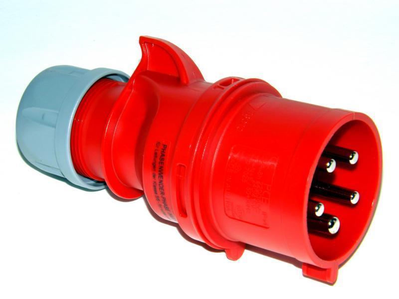 CEE  Kraftstrom Stecker 5polig bis 16 Ampere Schwarz
