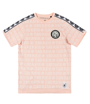 Team Platin Allover Typo Shirt rosé – Bild 1