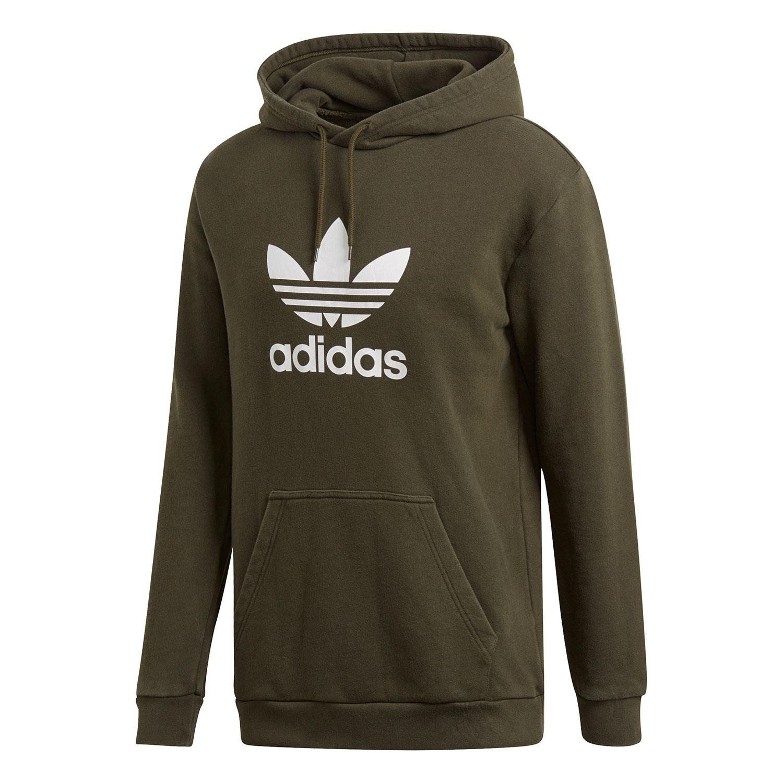 Details zu adidas Originals Trefoil Hoody Herren oliv weiß DT7970