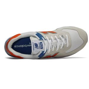 New Balance ML574SMG Herren Sneaker 657401-60 3 beige blau orange – Bild 3