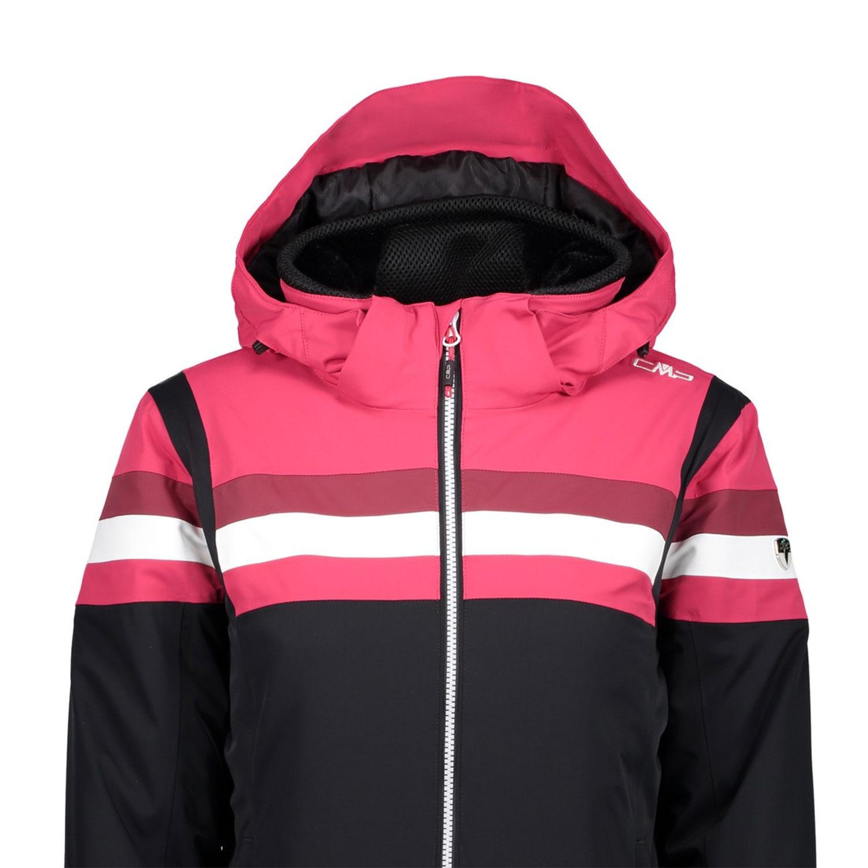 Campagnolo Damen Jacke Zip Hood Skijacke schwarz rot weiß 38W0806 U901