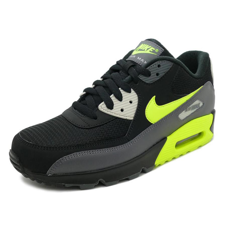Nike Air Max 90 Essential Herren Sneaker schwarz grau neon AJ1285 015