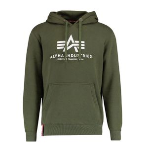 Alpha Industries Herren Basic Hoody oliv weiß