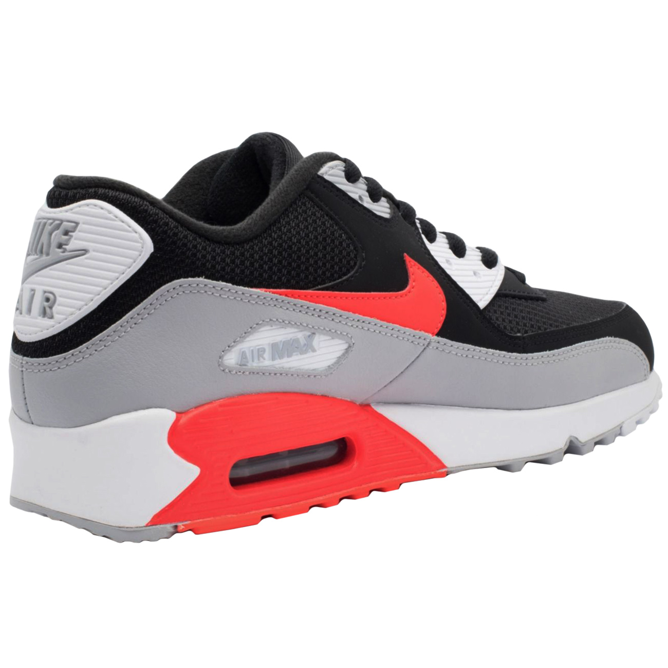 nike air max 90 essential herren sneaker schwarz grau rot. Black Bedroom Furniture Sets. Home Design Ideas