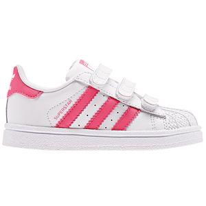 adidas Originals Superstar CF I Kinder Sneaker weiß pink Klett CG6638 – Bild 1