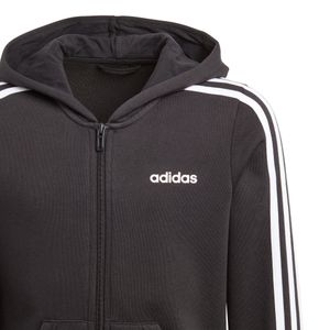 adidas Essential Junior 3-Stripes FZ Hoodie Kinder schwarz weiß DV0368 – Bild 3
