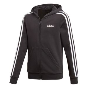 adidas Essential Junior 3-Stripes FZ Hoodie Kinder schwarz weiß DV0368 – Bild 1