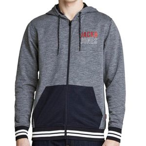 Jack & Jones Original Sweat Zip Hood grau blau 12148693  – Bild 3