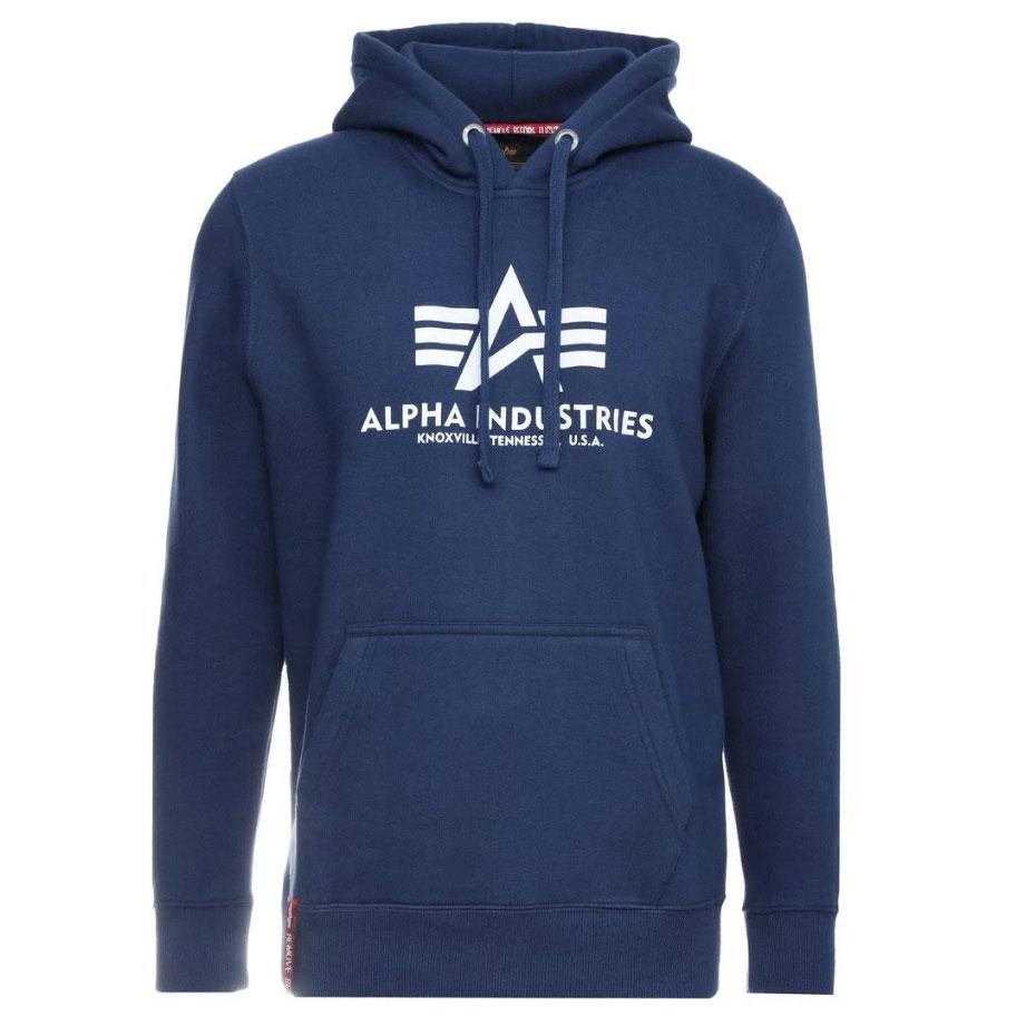 Alpha Industries Herren Basic Hoody blau