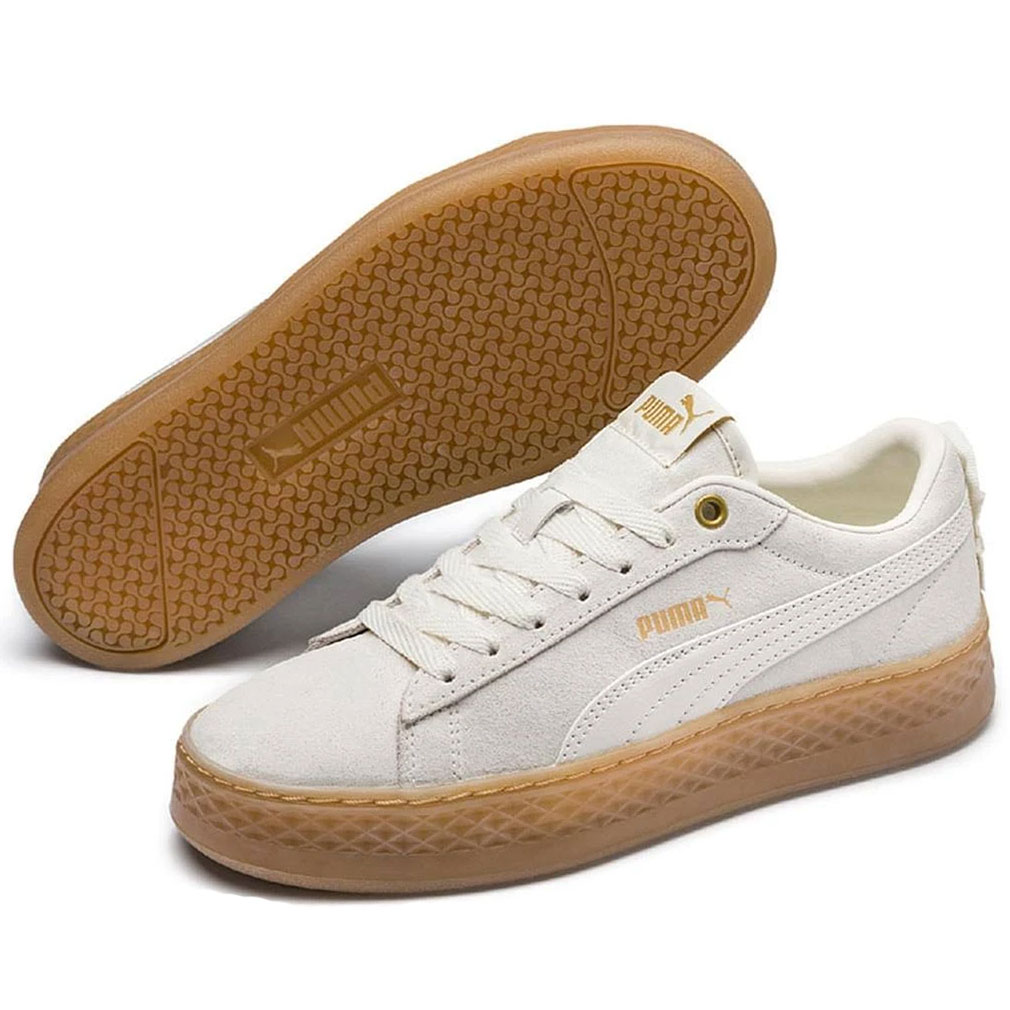 Puma Smash Platform Frill Sneaker low Damen grau braun 366928 04