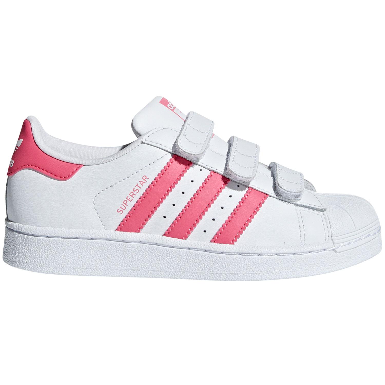 adidas Originals Superstar CF C Kinder Sneaker wei? pink Klett CG6621