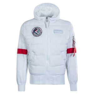 Alpha Industries Herren Hooded Puffer NASA weiß  – Bild 1