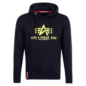Alpha Industries Basic Hoody Herren Pullover schwarz neon gelb 178312 478 – Bild 1