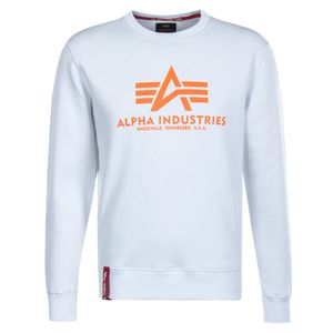 Alpha Industries Basic Sweater Herren weiß neon orange – Bild 1