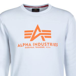 Alpha Industries Basic Sweater Herren weiß neon orange – Bild 2