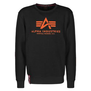 Alpha Industries Herren Basic Sweater black neon orange – Bild 1