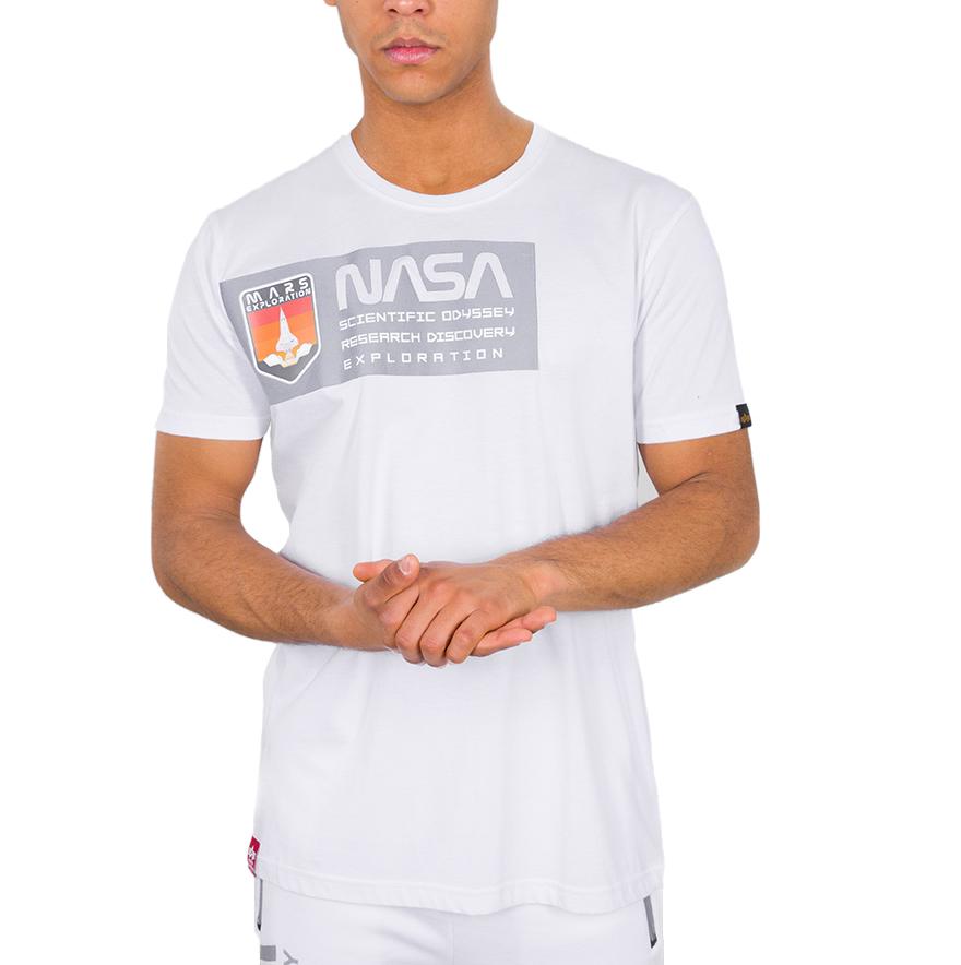 Alpha Industries Herren Mars Reflective T-Shirt weiß